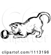 Clipart Vintage Black And White Kitten Playing With A Ball Royalty Free Vector Illustration