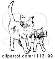 Clipart Vintage Black And White Cat And Kitten Royalty Free Vector Illustration by Prawny Vintage