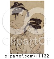 Two Asian Women With A Scroll Clipart Picture