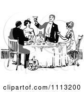 Clipart Vintage Black And White Man Toasting At A Table Royalty Free Vector Illustration