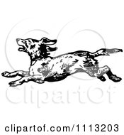 Clipart Vintage Black And White Running Dog Royalty Free Vector Illustration