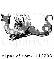 Clipart Vintage Black And White Dragon 1 Royalty Free Vector Illustration by Prawny Vintage