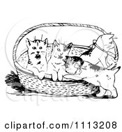 Clipart Vintage Black And White Kittens In A Basket Royalty Free Vector Illustration by Prawny Vintage