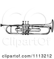 Clipart Vintage Black And White Trumpet Royalty Free Vector Illustration