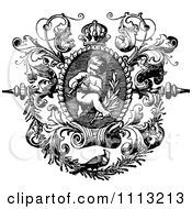 Clipart Black And White Angelic Cherub Playing An Instrument In An Ornate Frame Royalty Free Vector Illustration