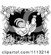 Clipart Two Retro Black And White Roosters In A Floral Frame Royalty Free Vector Illustration by Prawny Vintage