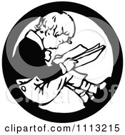 Clipart Vintage Black And White Boy Reading In A Circle Royalty Free Vector Illustration