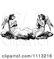 Clipart Vintage Black And White Angels Praying On A Cloud Royalty Free Vector Illustration by Prawny Vintage