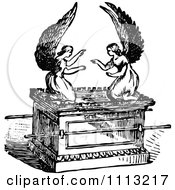 Clipart Vintage Black And White Angels On The Ark Of The Covenant Royalty Free Vector Illustration