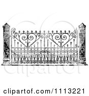 Clipart Vintage Ornate Black And White Wrought Iron Gate Royalty Free Vector Illustration
