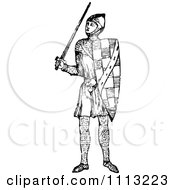 Clipart Vintage Black And White Elizabethan Knight With A Sword Royalty Free Vector Illustration by Prawny Vintage