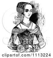 Clipart Vintage Black And White Elizabethan Lady Royalty Free Vector Illustration