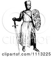 Clipart Vintage Black And White Medieval Knight On With A Shield And Sword 2 Royalty Free Vector Illustration by Prawny Vintage