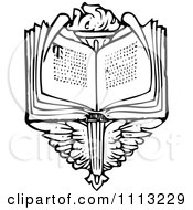 Clipart Vintage Black And White Open Book Over Wings And A Torch Royalty Free Vector Illustration