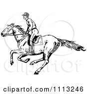 Clipart Vintage Black And White Jockey On A Galloping Horse 1 Royalty Free Vector Illustration by Prawny Vintage