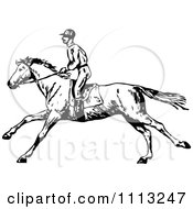 Clipart Vintage Black And White Jockey On A Galloping Horse 2 Royalty Free Vector Illustration