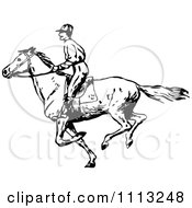 Clipart Vintage Black And White Jockey On A Galloping Horse 3 Royalty Free Vector Illustration