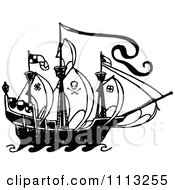 Clipart Black And White Pirate Ship 1 Royalty Free Vector Illustration by Prawny Vintage