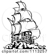 Clipart Black And White Pirate Ship 3 Royalty Free Vector Illustration by Prawny Vintage #COLLC1113257-0178