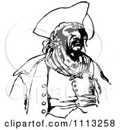 Clipart Vintage Black And White Male Pirate 1 Royalty Free Vector Illustration