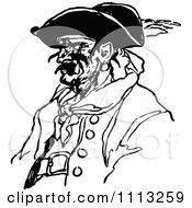 Clipart Vintage Black And White Male Pirate 2 Royalty Free Vector Illustration