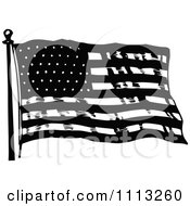 Vintage Black And White Waving American Flag