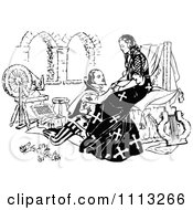 Clipart Medieval Man Kneeling Before A Lady Royalty Free Vector Illustration