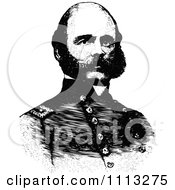 Clipart Vintage Black And White Portrait Of General Ambrose Burnside Royalty Free Vector Illustration