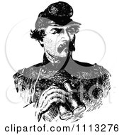 Clipart Vintage Black And White Portrait Of General George McClellan Royalty Free Vector Illustration