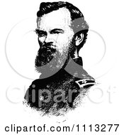 Clipart Vintage Black And White Portrait Of General James McPherson Royalty Free Vector Illustration