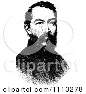 Clipart Vintage Black And White Portrait Of General Philip Sheridan Royalty Free Vector Illustration