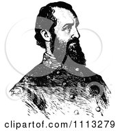Clipart Vintage Black And White Portrait Of General Stonewall Jackson Royalty Free Vector Illustration