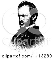 Clipart Vintage Black And White Portrait Of General William Sherman Royalty Free Vector Illustration