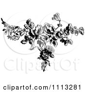 Clipart Vintage Black And White French Rose Design Element 1 Royalty Free Vector Illustration