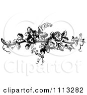 Clipart Vintage Black And White French Rose Design Element 2 Royalty Free Vector Illustration