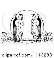 Clipart Vintage Black And White Owls Perched Against A Full Moon Royalty Free Vector Illustration
