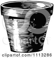 Clipart Vintage Black And White Terra Cotta Pot Royalty Free Vector Illustration