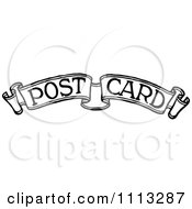 Clipart Vintage Black And White Post Card Text On A Banner Royalty Free Vector Illustration