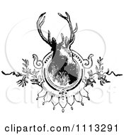 Clipart Vintage Black And White Deer Stag Mounted Royalty Free Vector Illustration by Prawny Vintage