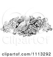 Clipart Vintage Kissing Birds And Floral Design Element Royalty Free Vector Illustration