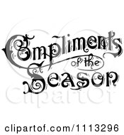 Clipart Vintage Compliments Of The Season Text In Black And White Royalty Free Vector Illustration