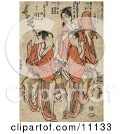 Three Asian Women Dancing Clipart Picture