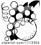 Clipart Retro Black And White Logo Of Grapes And An Apple Or Orange Royalty Free Vector Illustration