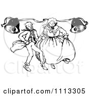 Clipart Vintage Black And White Couple Dancing Under Bells Royalty Free Vector Illustration by Prawny Vintage