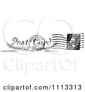 Clipart Vintage Black And White Postal Stamp With A Postmark Royalty Free Vector Illustration