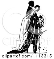 Clipart Vintage Black And White Wedding Couple During Their Ceremony Royalty Free Vector Illustration