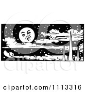 Clipart Vintage Black And White Moon Over Mountains And Clouds In A Night Sky Royalty Free Vector Illustration