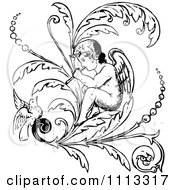 Clipart Vintage Black And White Cherub Playing A Flute On A Flourish With A Bird Royalty Free Vector Illustration