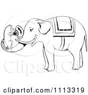 Clipart Vintage Black And White Mouse Fanning An Elephant Royalty Free Vector Illustration by Prawny Vintage