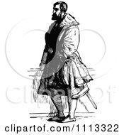 Vintage Black And White Standing Medieval Man
